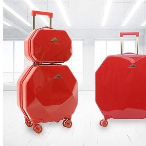Kensie Gemstone Red Octagonal 2pc Luggage set